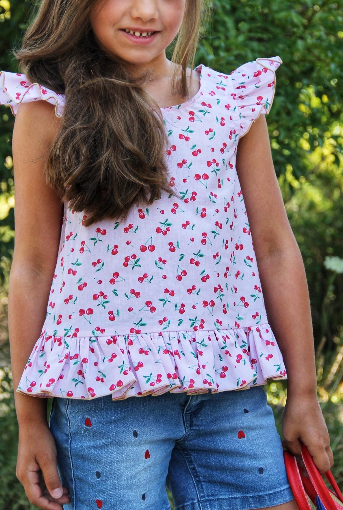 haut leger cerise petites filles printemps/été