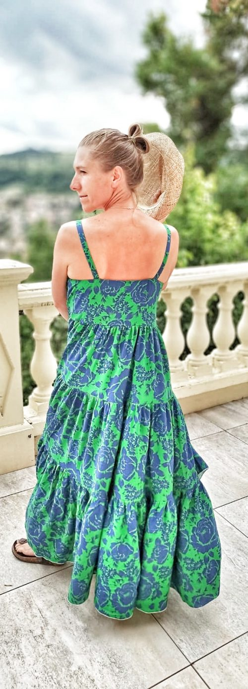 robe longue verte boheme chic femme dos