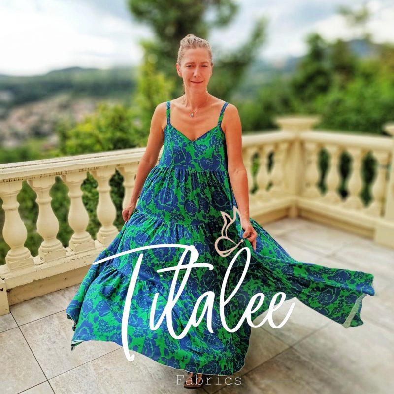 robe longue verte collection printemps été titalee fabrics
