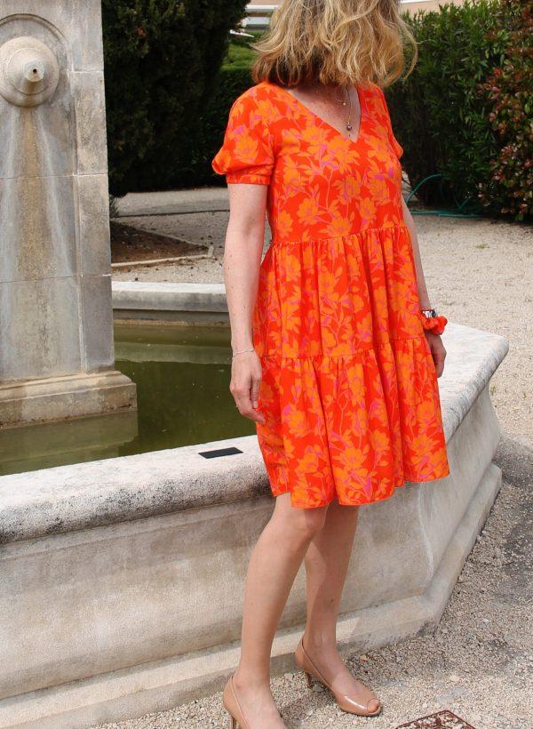 TITALEE robe MEERA fleuri orange (1)